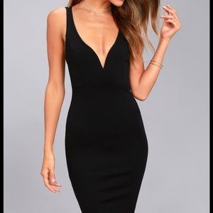 Lulu's black deep v-neck Knee length dress.